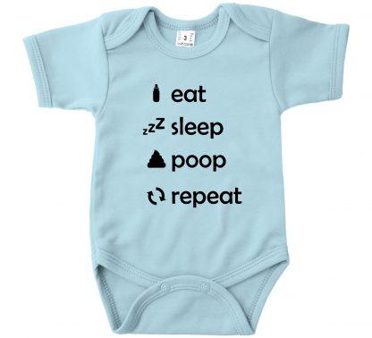 Romper licht blauw korte mouw Eat Sleep Poop Repeat