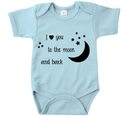 Romper licht blauw korte mouw I love you to the moon and back