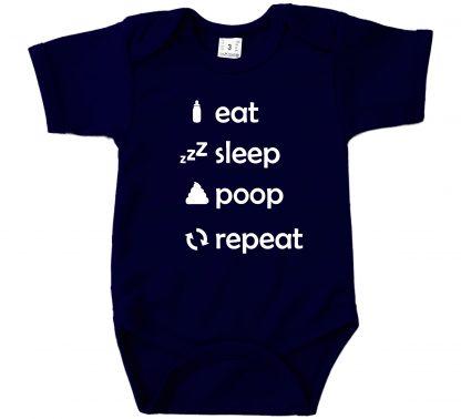 Romper navy blauw korte mouw Eat Sleep Poop Repeat