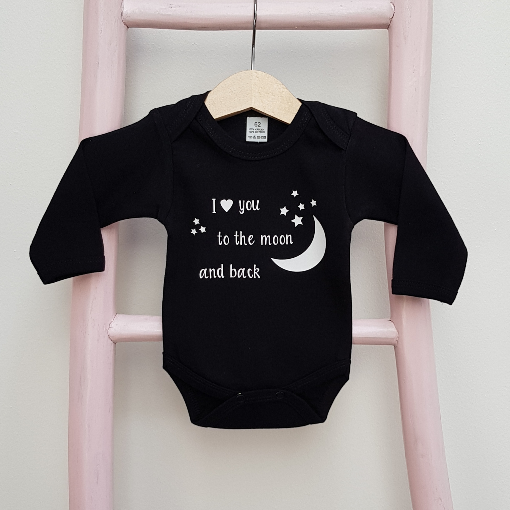 Romper zwart lange mouw I love you to the moon and back foto
