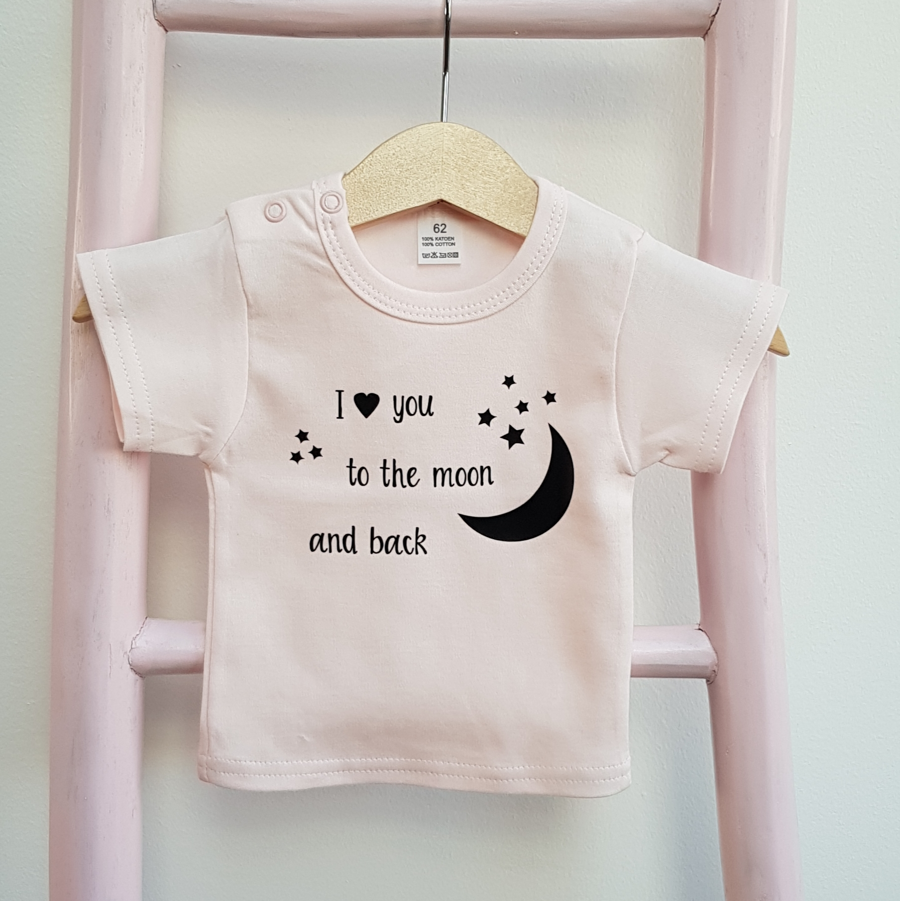 Shirt roze I love you to the moon and back korte mouw foto