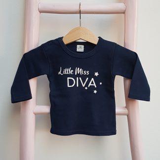 Tshirt navy donker blauw Little Miss DIVA lange mouw foto