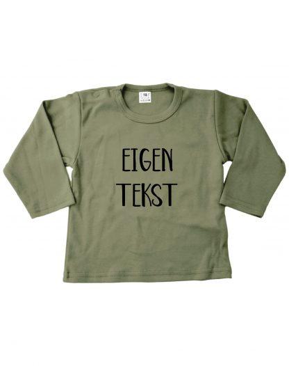 Tshirt legergroen eigen tekst