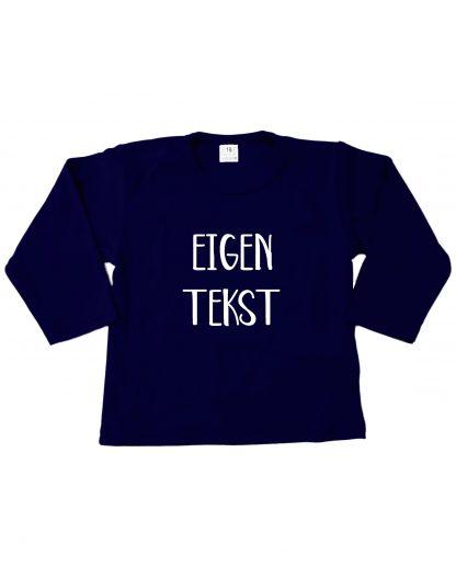 Tshirt navy blauw eigen tekst