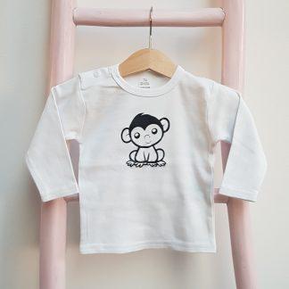 Tshirt wit klein aapje lange mouw foto