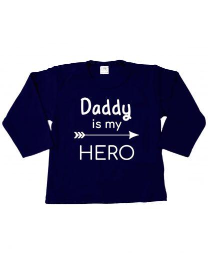 Tshirt navy blauw daddy is my hero