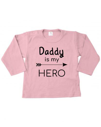 Tshirt roze daddy is my hero