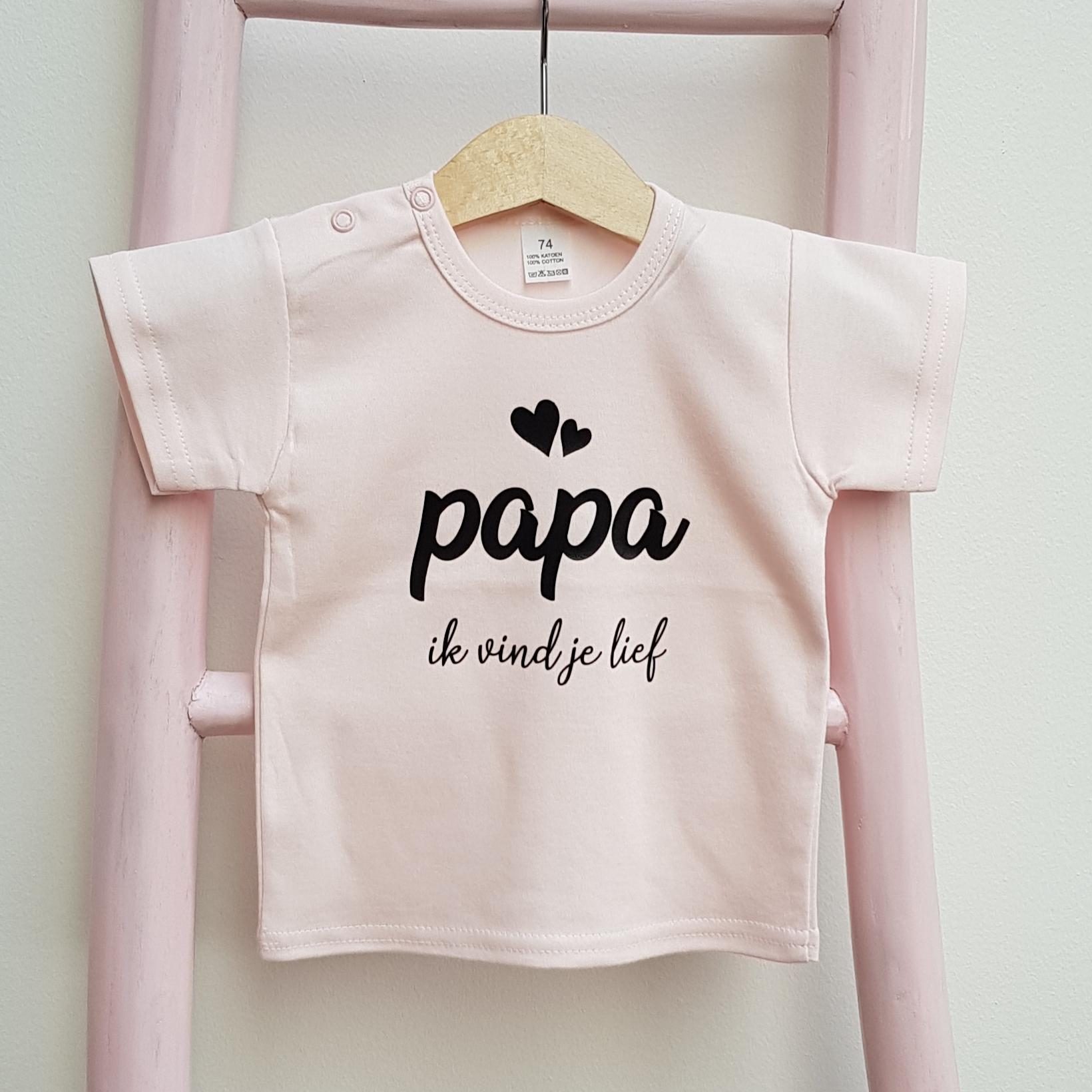 Tshirt roze papa ik vind je lief korte mouw