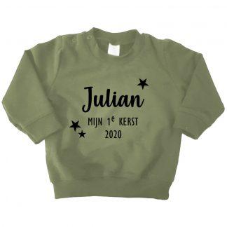 sweater legergroen mijn eerste kerst naam