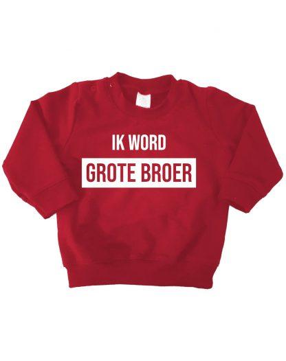 Sweater bordeaux rood ik word grote broer trui
