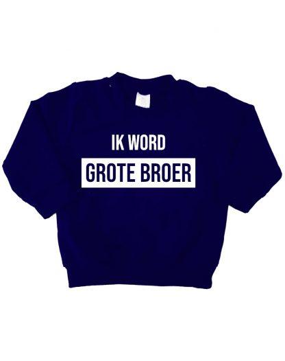 Sweater donker blauw ik word grote broer trui