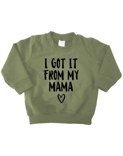 Sweater legergroen i got it from my mama kinder baby trui