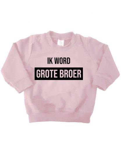 Sweater licht roze ik word grote broer trui