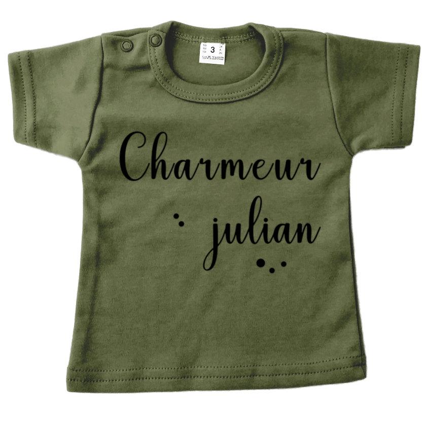 Shirt legergroen korte mouw Charmeur met naam