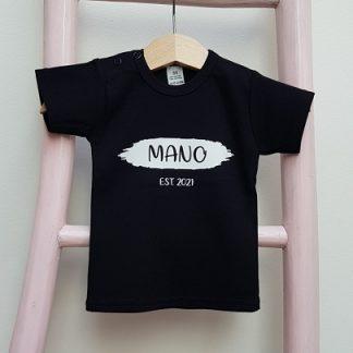 T-shirt verfstreep naam geboortejaar foto Mano klein