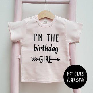 Tshirt licht roze i'm the birthday girl korte mouw foto met gratis verrassing