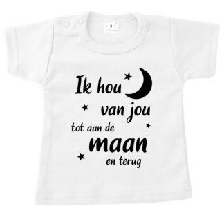 T-shirt wit korte mouw ik hou van jou tot aan de maan en terug