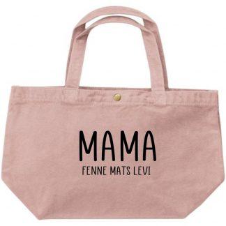 Grote luxe dames canvas shopper mama met namen van de kinderen